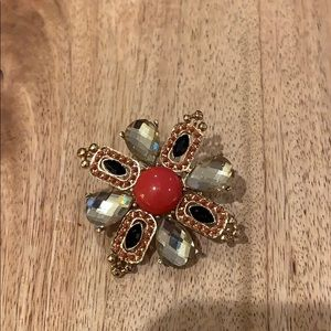 Stella and Dot Coral and Black Broach
